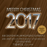 Vector chic wooden Happy New Year 2017 greeting card. With set of letters, symbols and numbers. File contains graphic styles Stock Photos