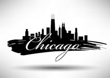 Vector Chicago Skyline Design stock illustration