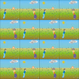 Vector of child figurе in color background. Two cadre Stock Images