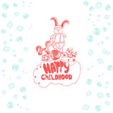 Vector childish banner with rabbit in glasses Stock Photos