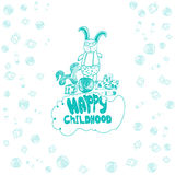 Vector childish banner with rabbit in glasses, horse, bib, ball and cubes in doodle style. EPS10 Royalty Free Stock Photos