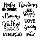 Vector childish lettering. Vector childish poster with phrases and decor elements. Typography card, image with lettering. Black quote, design for t-shirt and vector illustration
