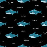 Vector childish seamless pattern with cute shark on black backgroundю vector illustration