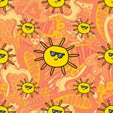 Vector children cartoon style sunny pattern. Vector seamless pattern design background with sunny summer sun cartoon style illustration. Textile fashion Royalty Free Stock Photography
