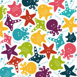 Vector children colorful pattern of sea animals Stock Photos