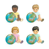 Vector children of different races hugging the planet. Friends Day. Children and Earth: dark-skinned, fair-skinned, red-haired, asian boy and girl with Earth on Royalty Free Stock Photo