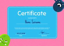 Vector children diploma or certificate with cute cartoon monsters on wavy background. Template certificate illustration Stock Image
