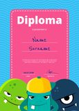 Vector children diploma or certificate with cute monsters on wavy background vector illustration