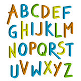 Vector children font. Colorful alphabet. Letters. Font children. Colorful alphabet. Letters in child style. Cartoon ABC. Vector illustration royalty free illustration
