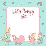 Vector children greeting card in pastel colors. Happy birthday baby. Cat mom with a baby carriage, a kitten girls with. Ice cream. Space for text Stock Photography