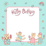 Vector children greeting card in pastel colors. Happy birthday. Girl with ice cream, kitten boy with fruit and sweet. Cat on a skateboard. Space for text Stock Images