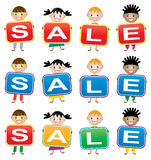 vector children holding cards with letters Royalty Free Stock Image