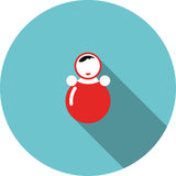 Vector children icon red toy roly poly Stock Photos