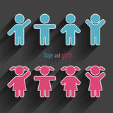 Vector children icons set. Vector sample boys and girls icons set Stock Photo