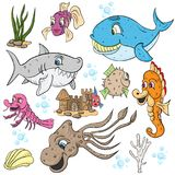 Illustration of underwater fish and animals, underwater castle. Vector children illustration, underwater world, fish and animals, underwater castle, whale, shark Royalty Free Stock Images