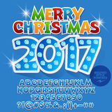 Vector children light up Merry Christmas 2017 greeting card. With set of letters, symbols and numbers. File contains graphic styles Royalty Free Stock Photos