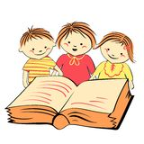 Vector children reading a book Royalty Free Stock Photo