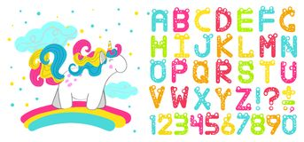 Vector children`s font. In the cartoon style. Colorful cartoon alphabet stylized numbers and letters. Funny unicorn font Royalty Free Stock Images