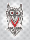 Vector children`s hand-drawing funny owl vector illustration