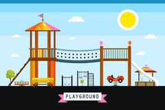 Vector Children`s Playground Cartoon. Kids Place on Sunny Day Royalty Free Stock Photos