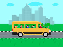 Vector children traveling by bus on travel Stock Photo