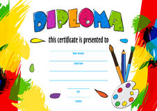 Vector  childrens diploma for delivery on a creative contest. Vector  childrens diploma certificate for delivery on a creative contest in kindergarten or school Royalty Free Stock Photos