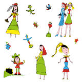 Vector Childrens Sketch color. Vector bright color Childrens Sketch With Flowers, girls, birds Royalty Free Stock Photography