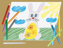 Vector childs drawing the Easter Bunny egg. Vector illustration with the image of a childs drawing the Easter Bunny egg with pencils Royalty Free Stock Photos