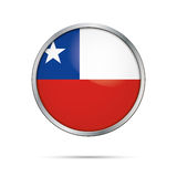 Vector Chilean flag button. Chile flag in glass button style. Royalty Free Stock Photo