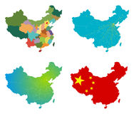 Vector China map set. Isolated on white Royalty Free Stock Photo