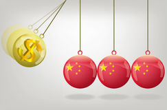 Vector china money crisis concept art Stock Image