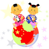 Vector Chinese boy and girl. Chinese boy and girl  in national costume sit against the background of the globe, the stylized image of China, the Chinese flag Royalty Free Stock Images