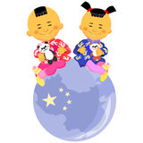 Vector Chinese boy and girl. Chinese boy and girl  in national costume sit against the background of the globe, the stylized image of China Royalty Free Stock Photo