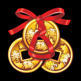 Vector Chinese coin tied with red ribbon. A square within a circle of ancient Chinese coins. Set talismans Fung Shui Vector Illustration