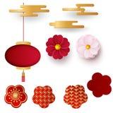 Vector Chinese 3d document besnoeiingskentekens, wolken en sakurabloemen Heldere bloemen en lantaarns Document stijl Gelukkig Nie royalty-vrije illustratie