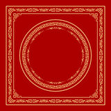 Vector Chinese frame style on red background Royalty Free Stock Photography