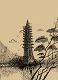 Vector Chinese landscape background with a tower Royalty Free Stock Photography
