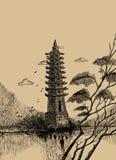 Vector Chinese landschapsachtergrond met een toren Royalty-vrije Stock Fotografie