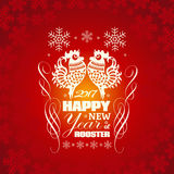 2017: Vector Chinese New Year greeting card background. With paper cut. Year of the rooster, Asian Lunar Year Royalty Free Stock Photos