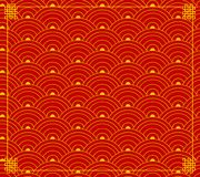 Vector Chinese Ornament, Wave Shapes, Circles Background, Red-Gold Colors, Backdrop with Corners. Vector Chinese Ornament, Wave Shapes, Circles Background, Red royalty free illustration