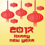 Vector Chinese Patterns for new year celebration. Chinese lanterns in 3d design. Card for congratulation 2017 year. Stock Photos