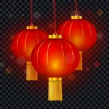 Vector Chinese red paper glowing lantern. Vector Chinese red traditional hanging paper glowing lanterns isolated on transparent background. Happy Chinese New royalty free illustration