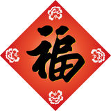 Vector for Chinese Spring Festival couplets. Red is not only a lucky colour for the Chinese,and the character inside Fu means Blessing, Good Fortune, Good Luck Royalty Free Stock Image