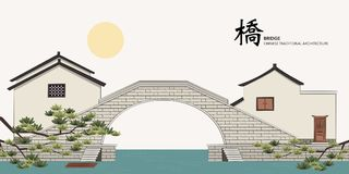 Vector Chinese Traditional Template Series Architecture Building. Stone bridge house