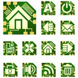 Vector chip-style icons. Royalty Free Stock Photo