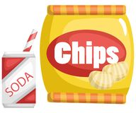 A vector of chips and a soda. Vector of chips and a soda royalty free illustration