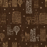 Vector Chocolate Brown Town Houses Trees Streets Drawing Seamless Pattern with Stars. Perfect for travel themed designs. Products, bags, accessories, luggage Stock Photo