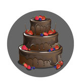 Vector chocolate cake with berries. Chocolate cake with glaze and various berries vector illustration