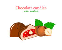 Vector chocolate candies illustration. Set of two chocolates a whole and slice with strawberry jelly hazelnuts. Delicious sweets for menu design, cards, candy Stock Photo