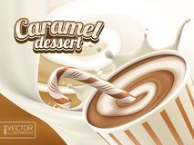 Sweet caramel yogurt, milkshake or ice-cream vector 3d illustration. Vector chocolate candy illustration for your design Royalty Free Stock Photography